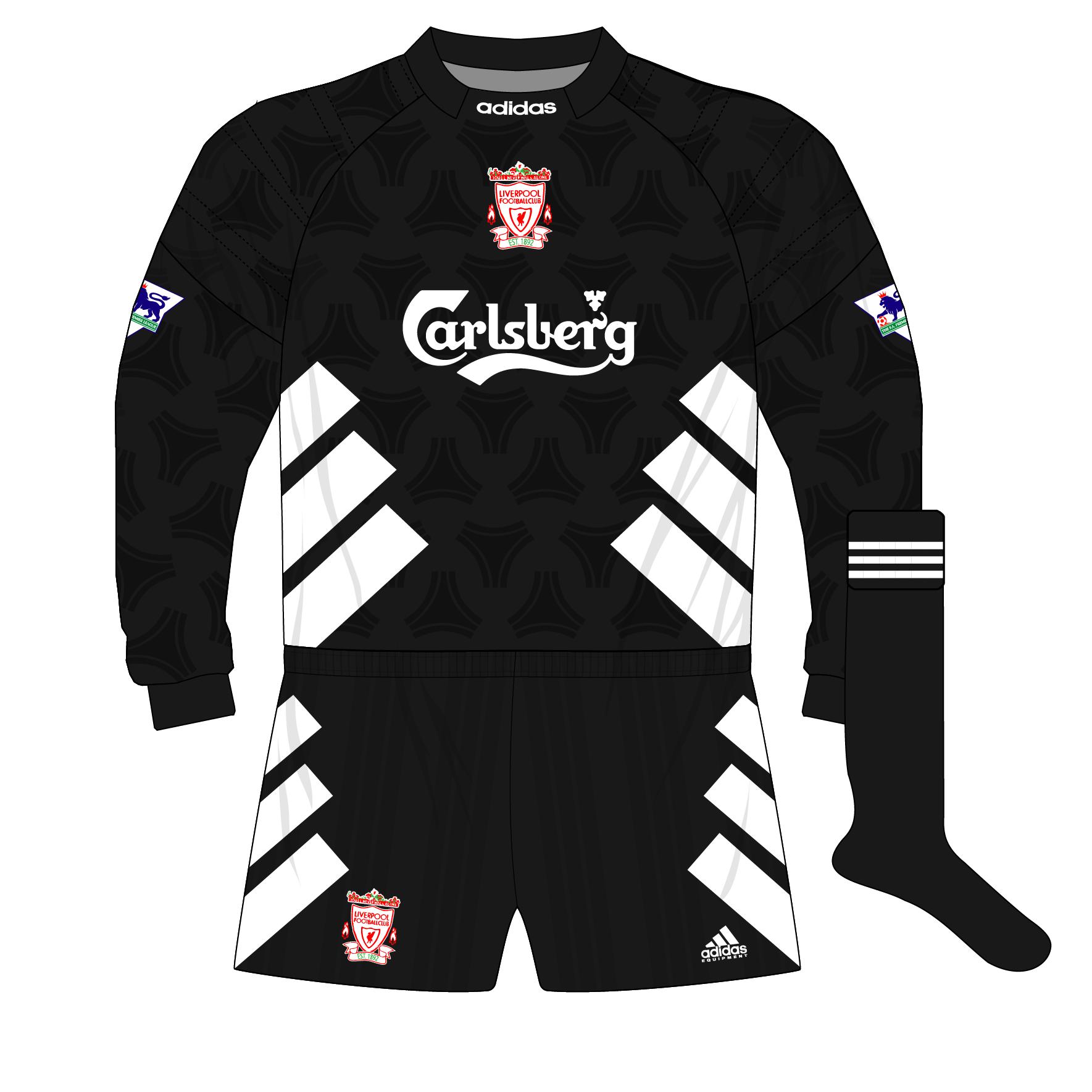 Liverpool 1993 1994 Home Goalkeeper Shirt Black Adidas Equipment 01 Museum Of Jerseys