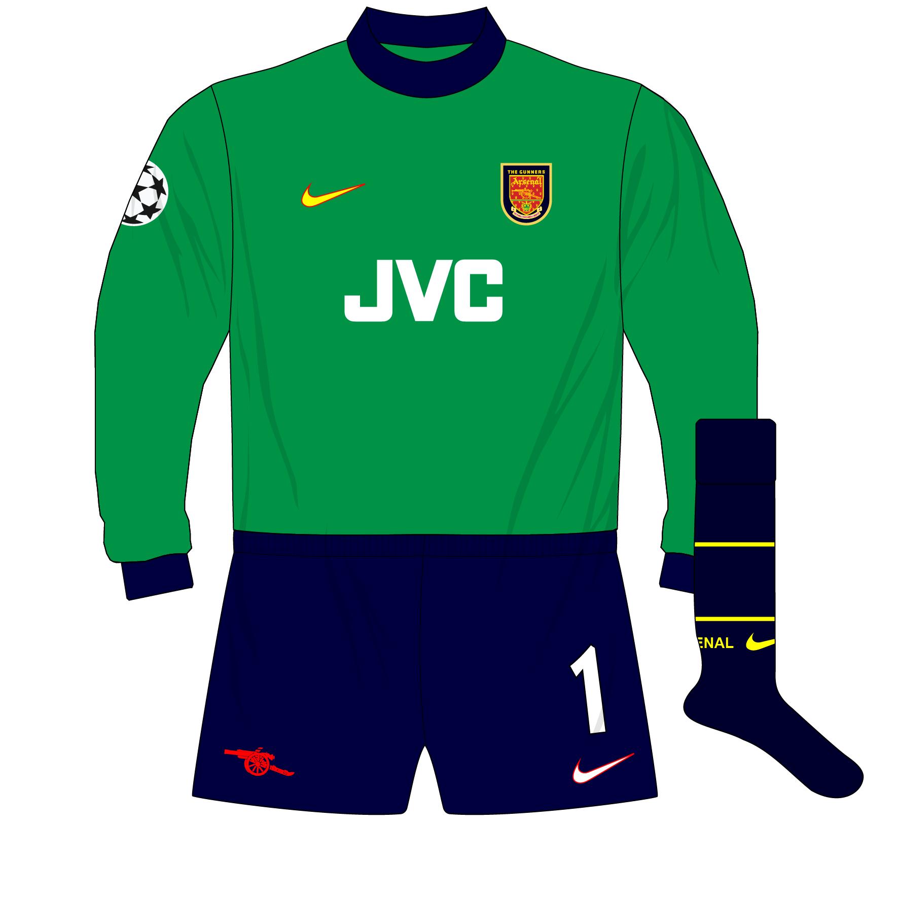 watch 27de2 28d76 Arsenal-Nike-1998-1999-Green-goalkeeper-shirt-kit-Champions ...