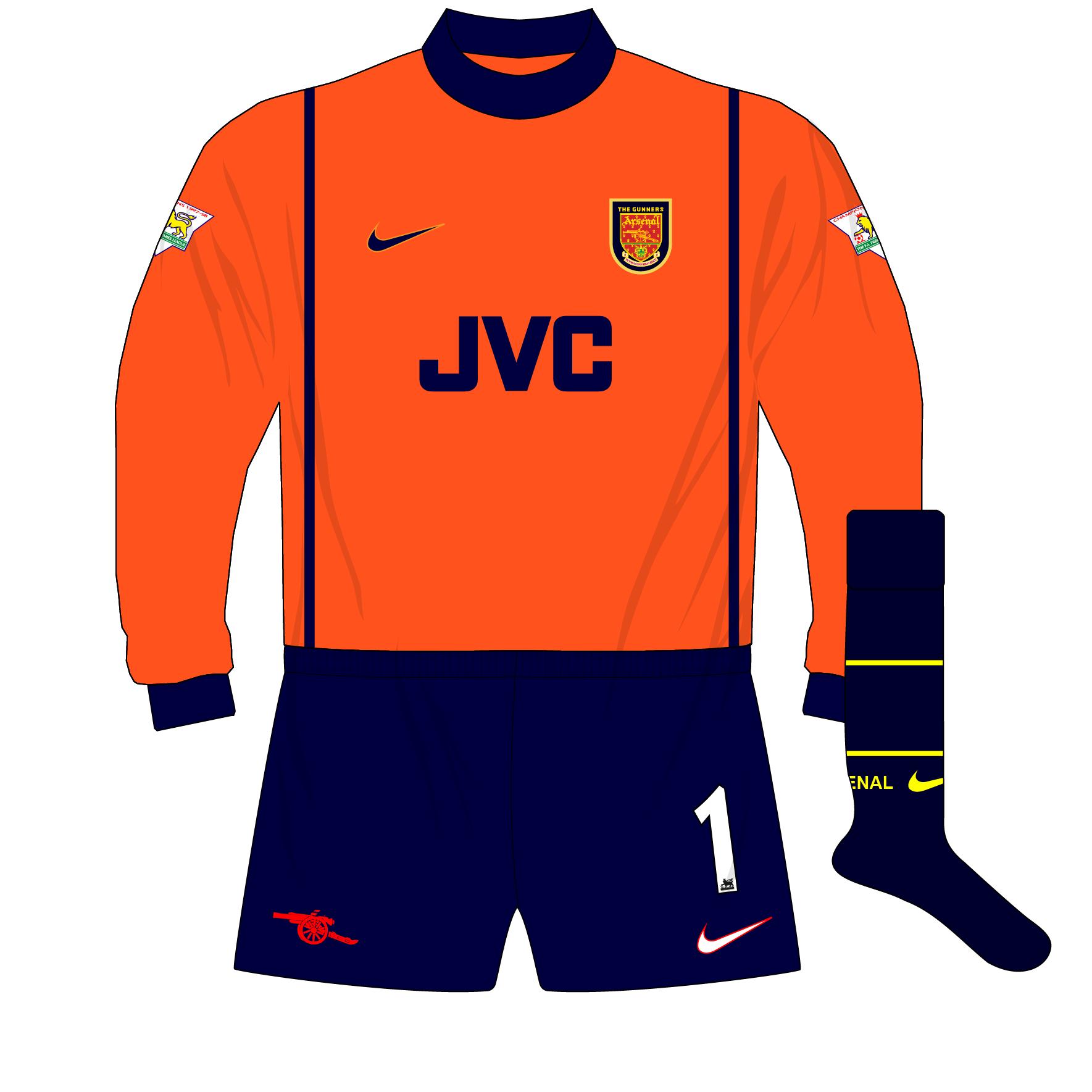 Arsenal Nike 1998 1999 Orange Goalkeeper Shirt Kit 01 Museum Of