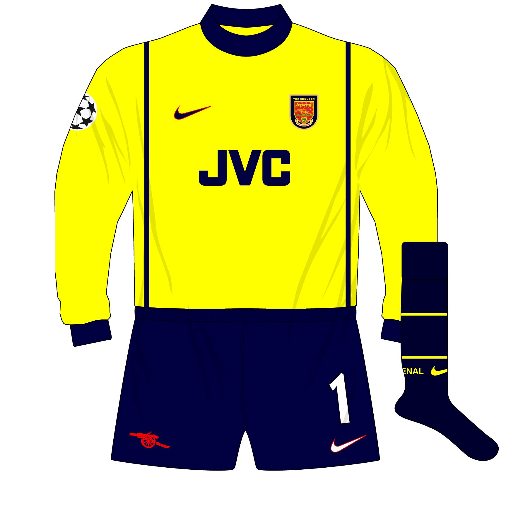 sale retailer 67e32 29e37 Arsenal-Nike-1998-1999-yellow-goalkeeper-shirt-kit-Champions ...
