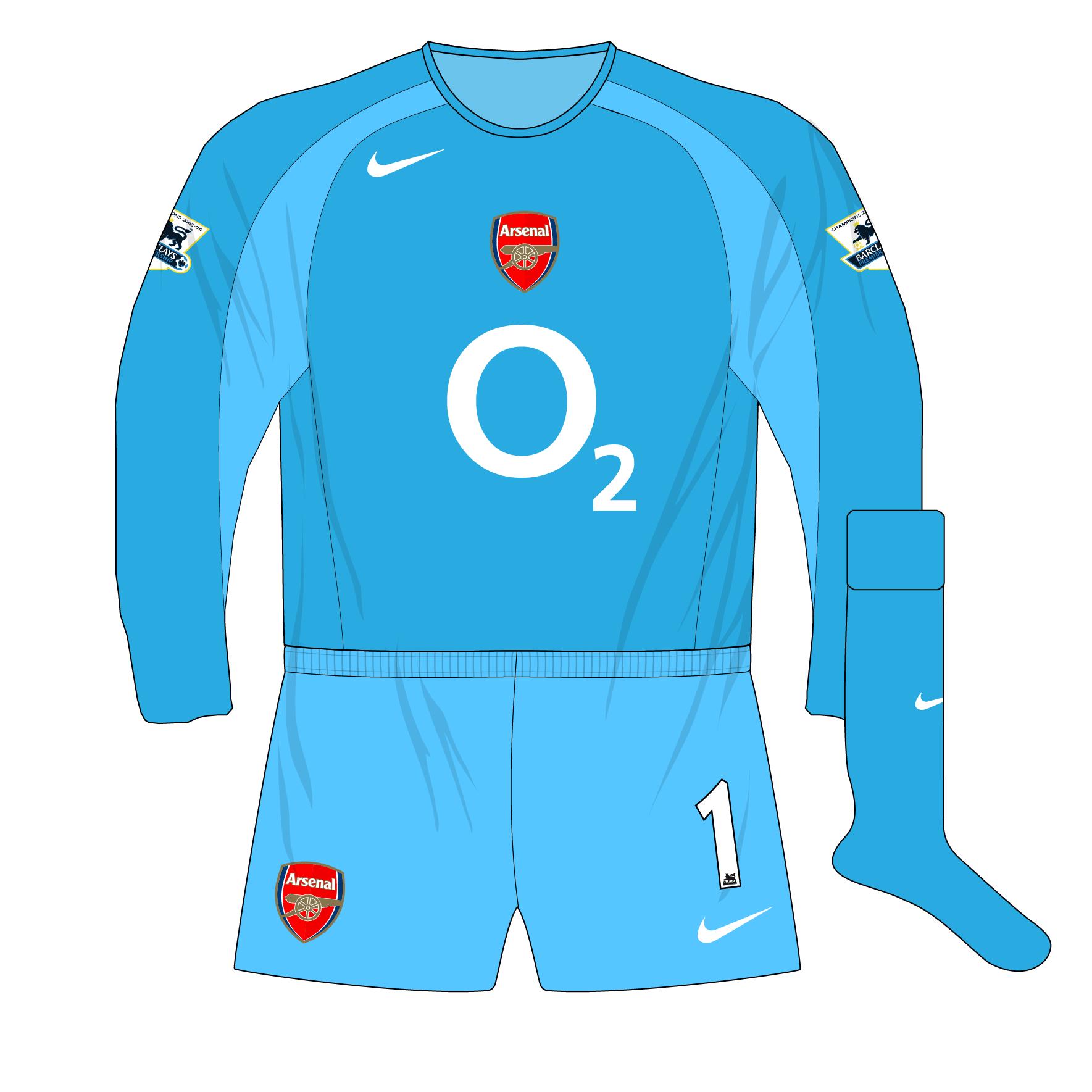 Arsenal Nike 2004 2005 Blue Goalkeeper Shirt Kit Lehmann 01 Museum