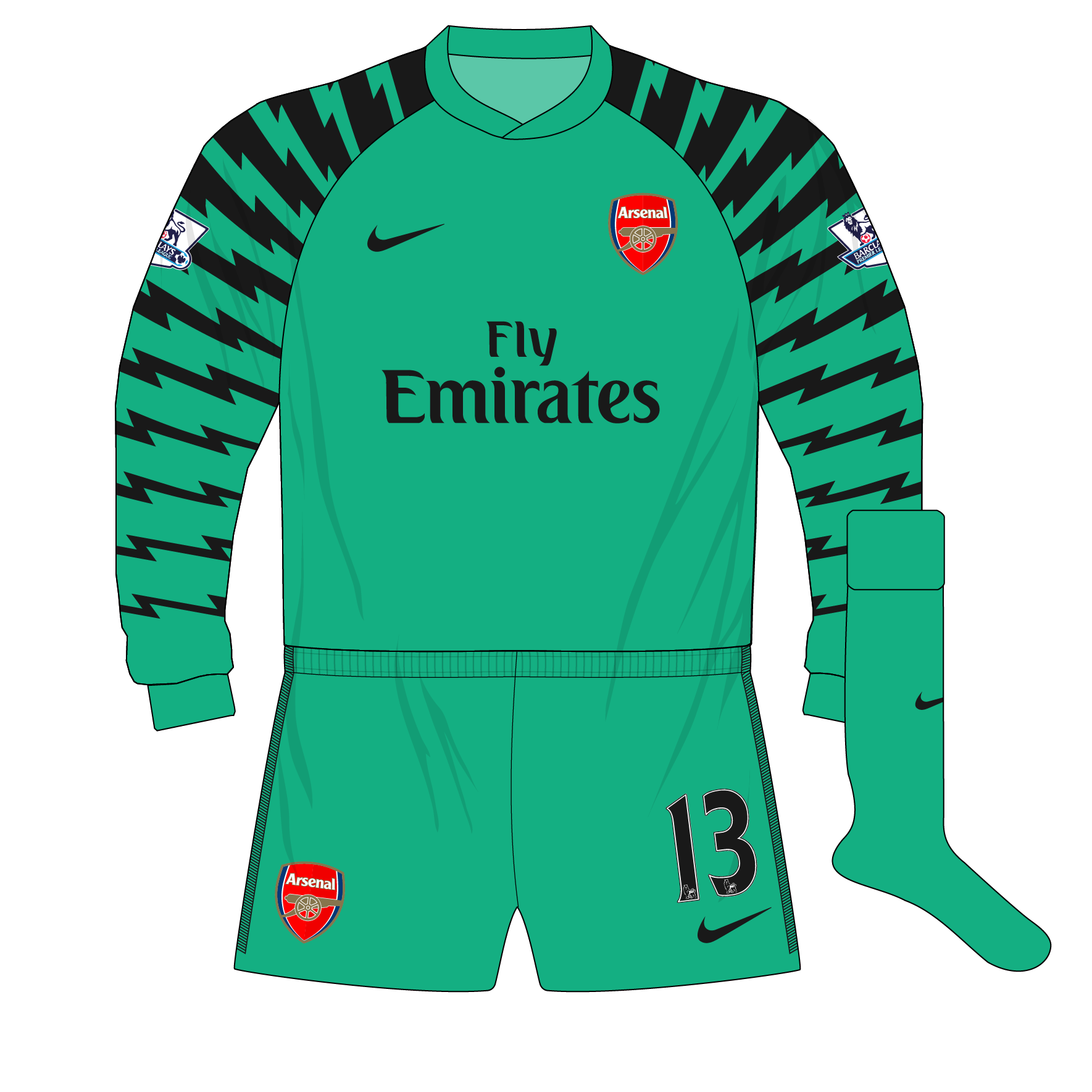 ebb788e4cee Arsenal-Nike-2010-2011-aqua-goalkeeper-shirt-Lehmann-Blackpool-01 ...