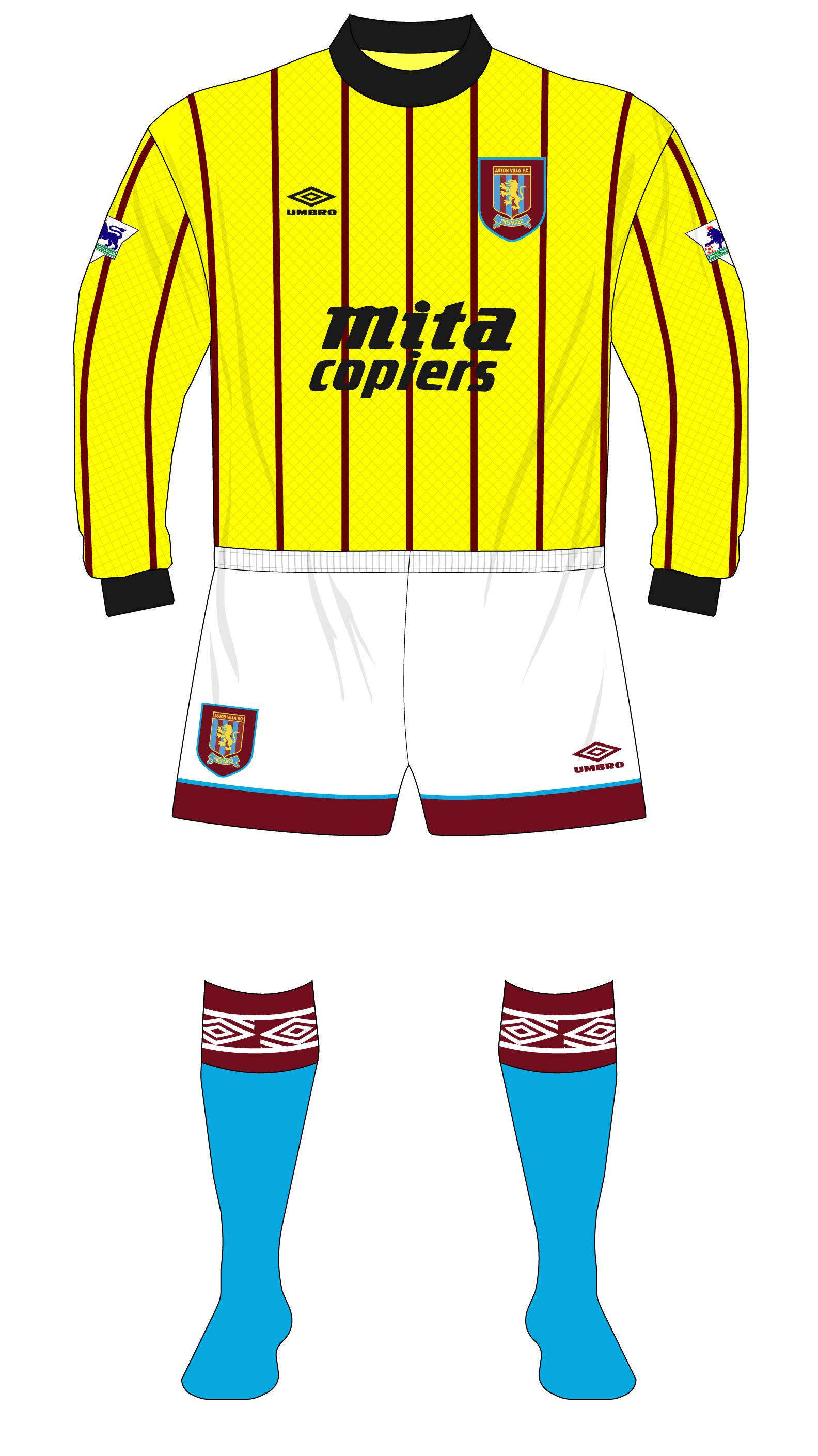 sports shoes 476bc 80db1 Aston-Villa-1992-1993-Umbro-goalkeeper-shirt-Spink-Bosnich ...